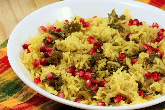 Rice Kale Pilaf - Rice Pulao/Pilaf with Kale, Cashews, Vegetables ...