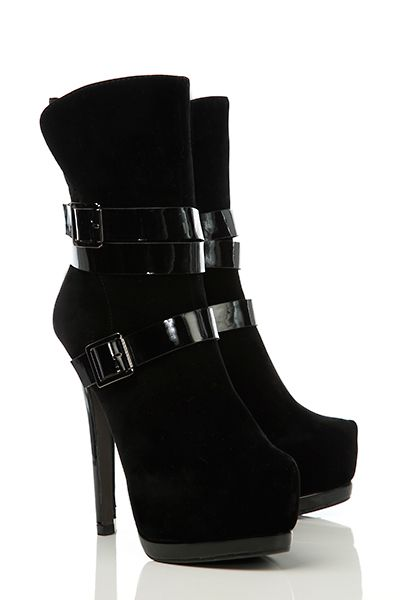 Patent+Buckle+Straps+High+Ankle+Boots