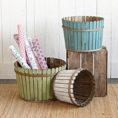 Give a plant or tree a home in these painted & distressed wood baskets. PICKET FENCE BASKETS Set of 3 $119. sundancecatalog.com