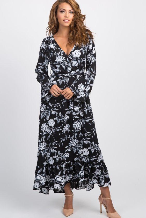 2020 Yazlik Elbise Modelleri Siyah Uzun V Yaka Uzun Kol Klos Etekli Cicek Desenli Krem Stiletto Ayakkabi Elbise Modelleri Elbise Maksi Elbiseler