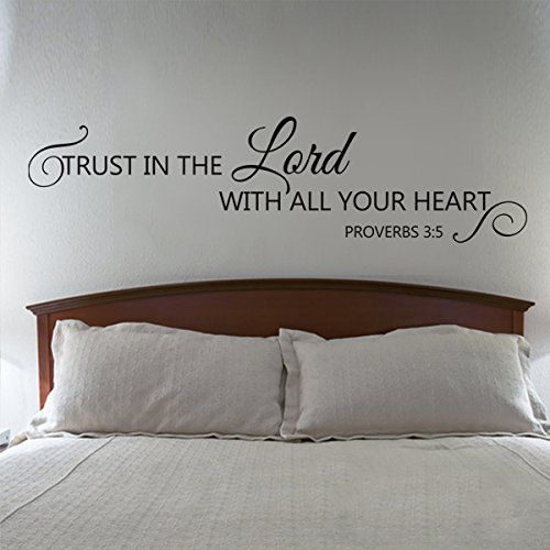 Scripture Wall Decal - Trust in the Lord with all your heart - Bible Verse Wall Decal Quote (Dark Brown, Medium) GECKOO ...