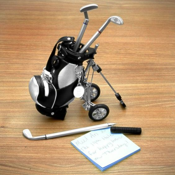 Golfing Pen Set Desk Caddy Gift for a Dad who is 60