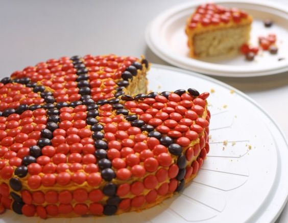 Reese's Pieces basketball cake: Basketball Cakes, Butter Cake, Basketball Party, Reese S Pieces, Party Ideas, Dessert, Birthday Cakes