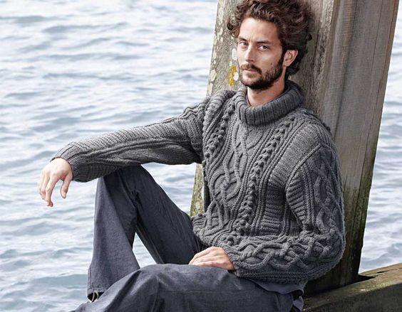 Картинки по запросу Мужской свитер спицами