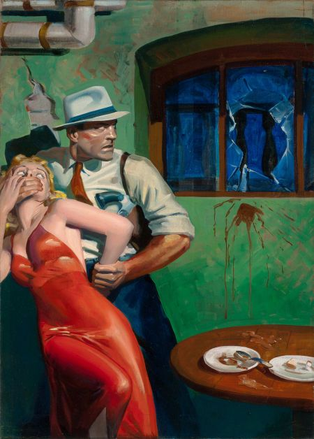HUGH JOSEPH WARD (American, 1909-1945). I Find Murder, SpeedDetective pulp cover, June 1945. Oil on canvas.