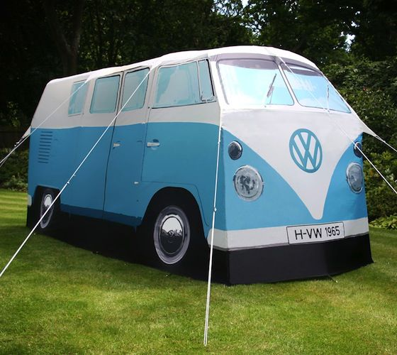 VW Camper Van Tent / Exact Scale Replica VW Camper Van Tent in Blue At a recent festival it struck the guys at the Monster Factory by the lack of innovation in the tent market . http://thegadgetflow.com/portfolio/vw-camper-van-tent-550/