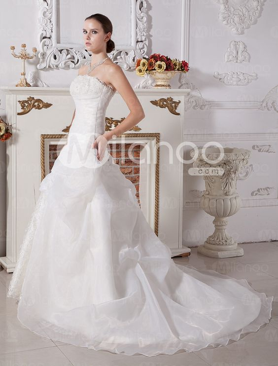 A-line Strapless Beading Embroidery Lace Satin Wedding Dress - Milanoo.com