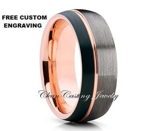 Gunmetal Tungsten Ring,Rose Gold Tungsten,Tungsten Carbide Ring,Comfort Fit,Men…