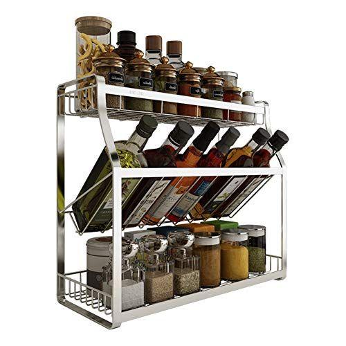 Kitchen Shelf Stainless Steel Seasoning Rack 3 Tier Countertop Wine Rack Storage Supplies Seasoning Rack