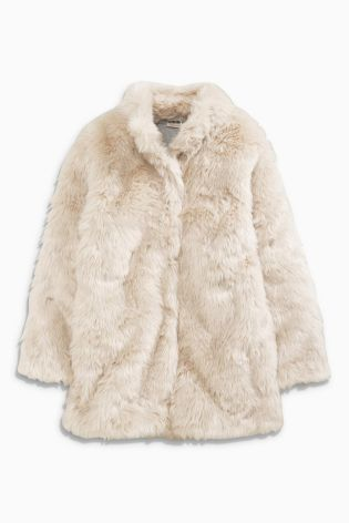 Cream Faux Fur Jacket (3-16yrs) from Next | Kids Partywear