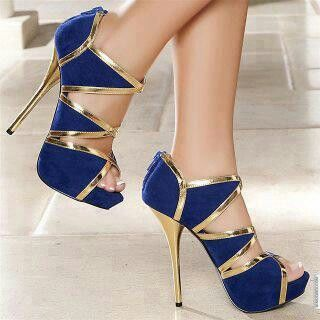 Royal blue and gold stilettos | Heels & Pumps | Pinterest | Gold ...