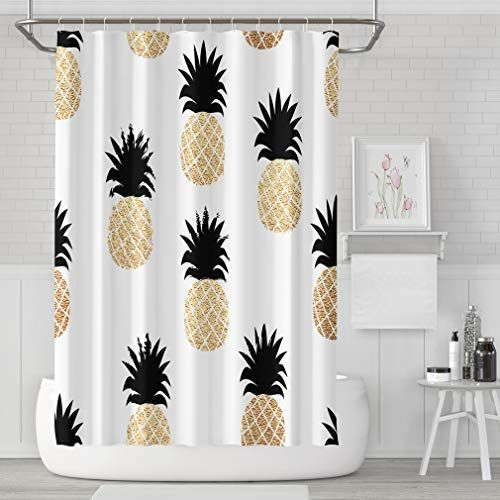 Asoco Shower Curtain Set With 12 Hooks Summer With Gold P Shower Curtain Decor Cool Shower Curtains Cheap Shower Curtains