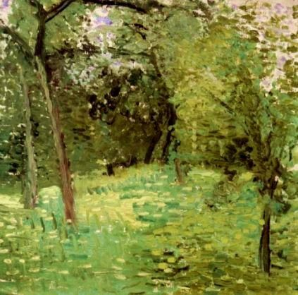 '`flowering` wiese mit bäume', 1907 von Richard Gerstl (1883-1908, Austria)