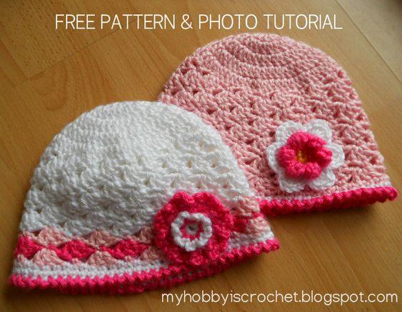 Sombrero de encaje de ganchillo para bebé / niño patrón de las muchachas libres con foto tutorial