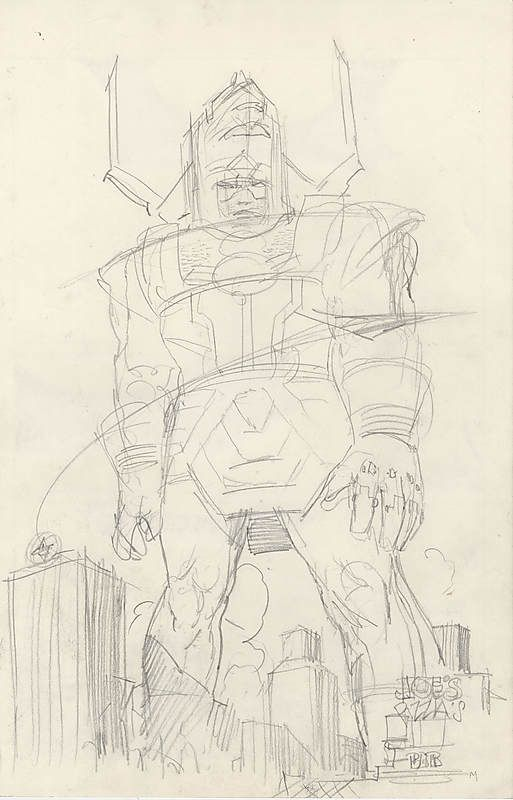 "browsethestacks: ""Galactus Preliminary Sketch On The Back Of Silver Surfer: Parable Pg 64 Art by Moebius """