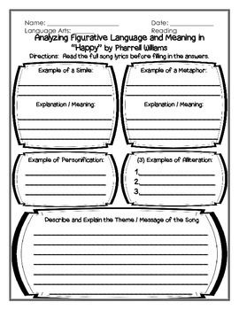 Worksheets Song Analysis Worksheet language happy and figurative on pinterest finding meaning using pharrell williams song