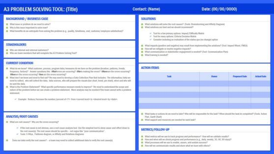 A3 Root Cause Analysis Powerpoint Template