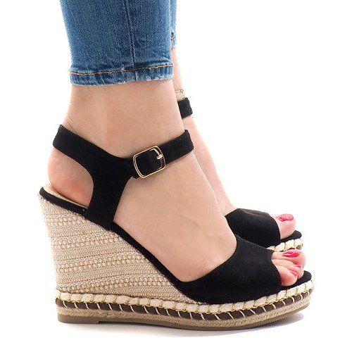 Czarne Zamszowe Sandaly Na Koturnie Lm 8006 Wedge Sandals Black Wedge Sandals Black Suede Wedges