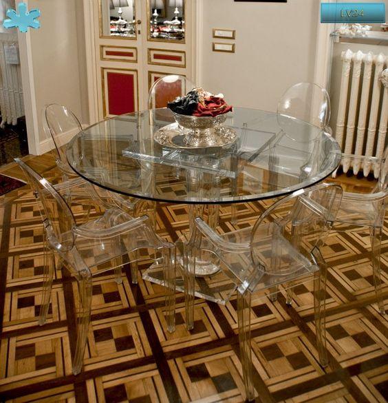 Lucite Acrylic dining table - TAVOLI PRANZO IN PLEXIGLAS | Tavolo trasparente in plexiglas 10.mod. LV24      | Tavolo in plexiglas diam.cm.140 h.76 - base LV24 fusto diam.cm.20 - piani cm.60 x 60 / cm.50 x 50 sp.cm.4 - piano in vetro sp.mm.15