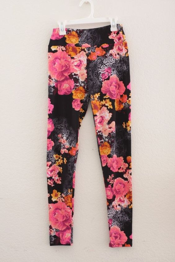 LULAROE OS one size black HOT PINK orange floral leggings UNICORN lace flowers | Lace Black and ...