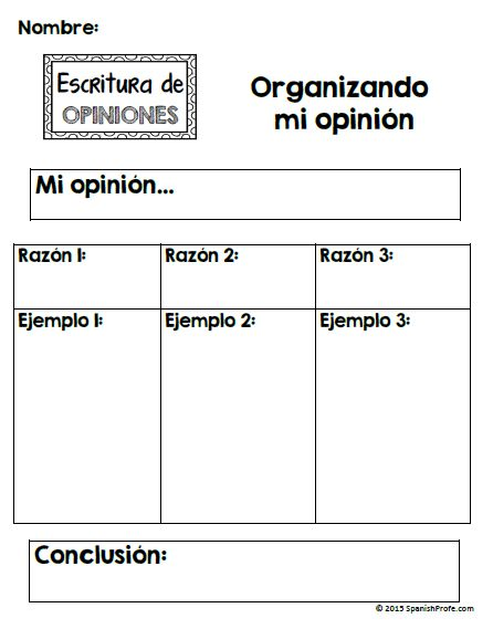 Great graphic organizer------ Spanish Opinion Writing unit for ...