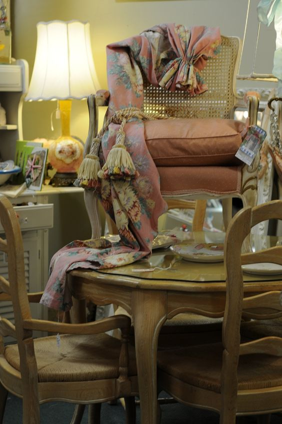French chair, old bark cloth curtains