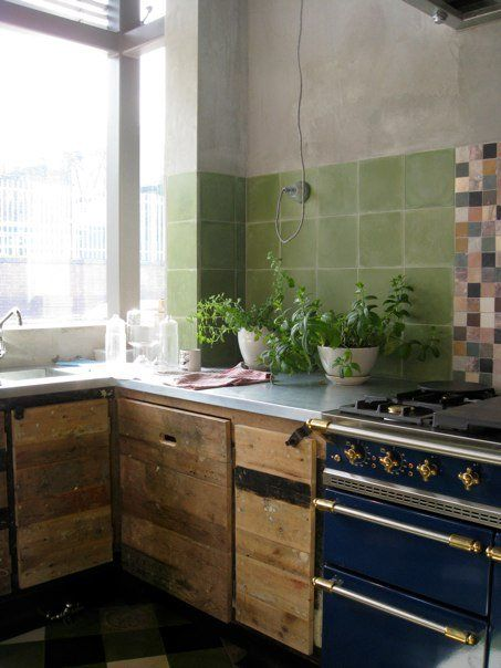 Like: Rough wooden cabinet and greet tiles.