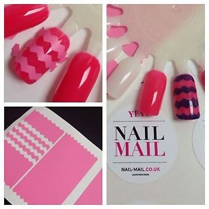 ON SALE NOW Pink Chevron Nail Art Stencils - 10% of sale is donated to Cancer Research UK