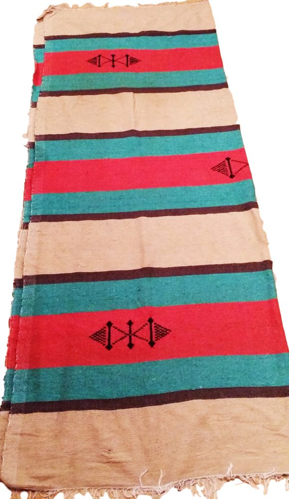 Moroccan Textiles - Blanket / Throw - Handmade Wool + Cotton - 91 x 72 inches