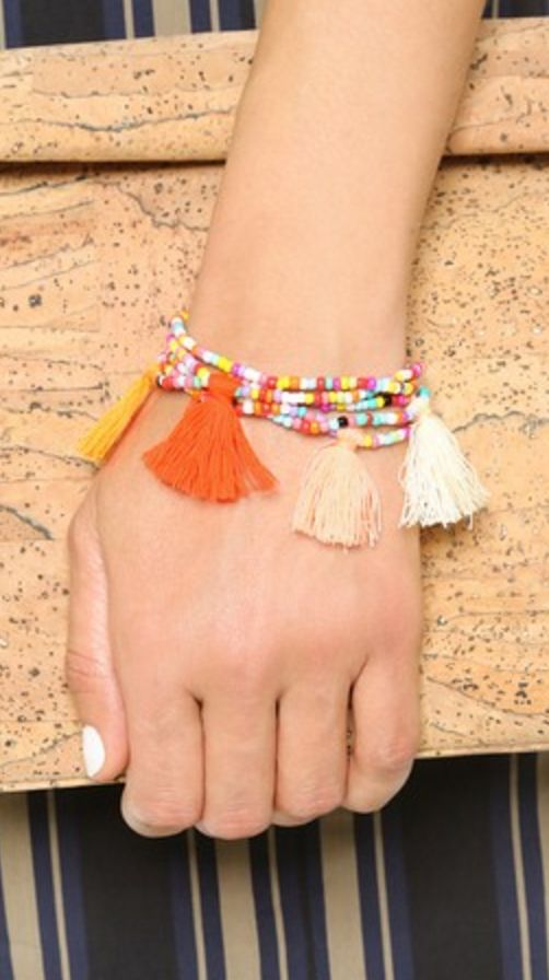 Multi-Colored Tassel and Bead Bracelet