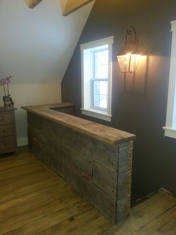 Reclaimed Wood From An Old Wagon On The Half Wall