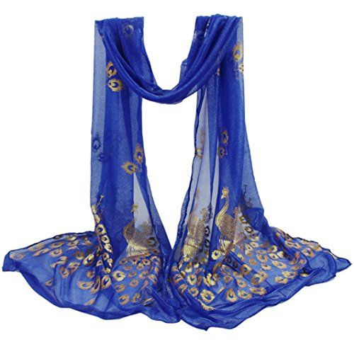 Ladies Women New Embroidered Owl  BLUE Scarf Wrap Shawl Pashmina