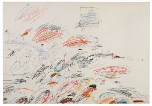 Cy Twombly (American, 1928-2011), Untitled, 1963. Pencil, wax crayon and acrylic on paper, 69.5 x 98.5 cm.