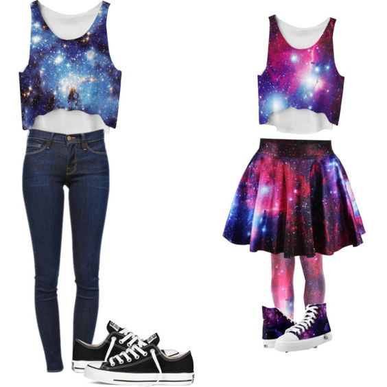 Galaxy twins by alohalove889 on Polyvore featuring Frame Denim and Converse