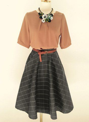 Brief Round Neck Chiffon Half Sleeve Blouse and Plaid Skirt Twinset For Women