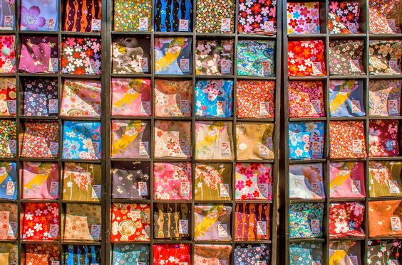 https://flic.kr/p/uaUrCn | A colourful display of printed handkerchiefs outside a shop in Kyoto, Japan