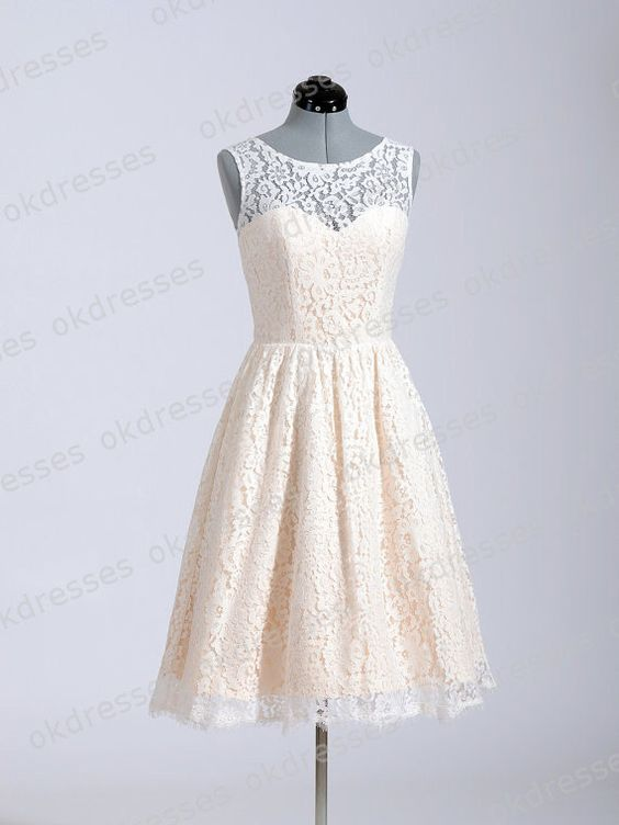 Princess champagne lace short wedding dress high neck for Knee high wedding dresses