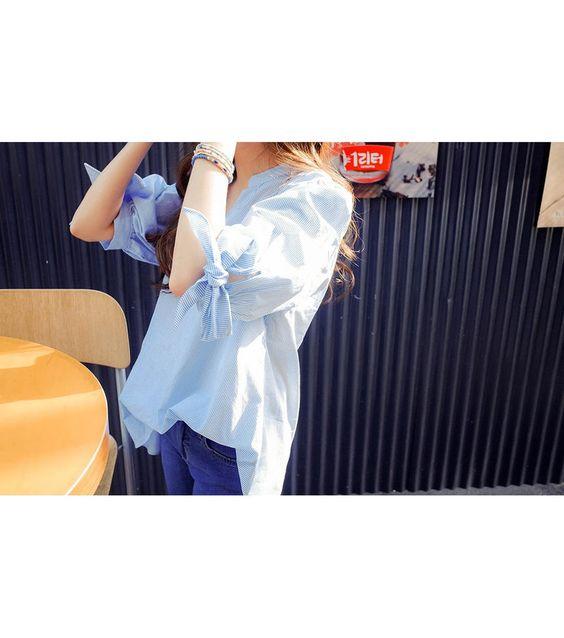 Tie-Sleeve Striped Blouse - OTTI | YESSTYLE