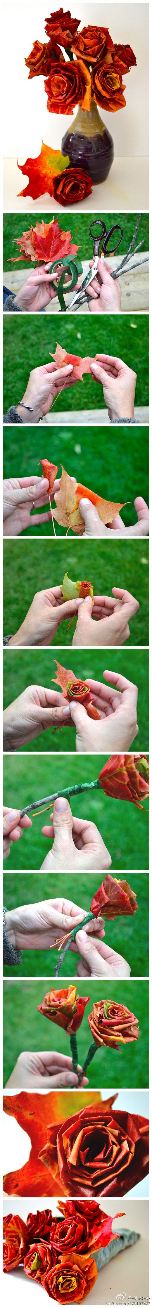 Make a holiday Rose or bouquet out of Fall leaves. Cool idea! #wedding www.BlueRainbowDesign.com
