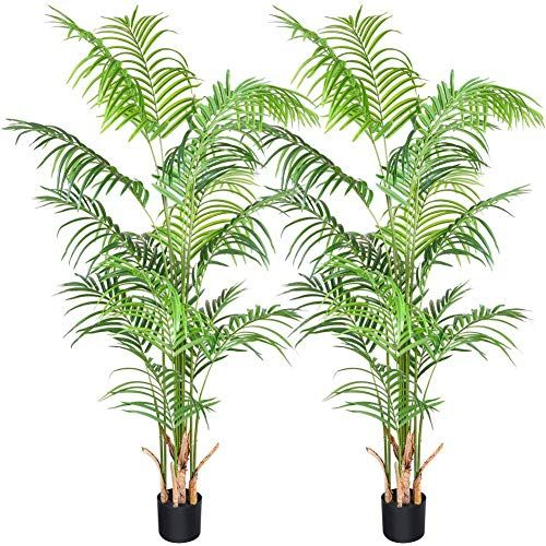 Enjoy Exclusive For Crosofmi Artificial Areca Palm Plant 5 5feet Fake Palm Tree 15 Leaves Faux Yellow Palm Pot Indoor Outdoor House Home Office Modern Decora In 2020 Fake Palm Tree Palm