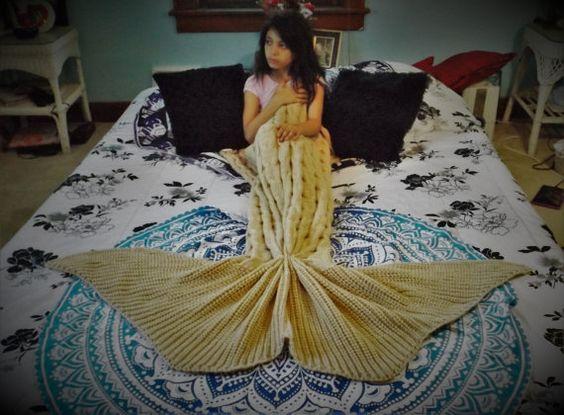 Cream color Mermaid blanket Child mermaid by TheMuseCreations