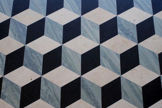 Mosaicos geométricos en Getty Villa (California). | Matemolivares