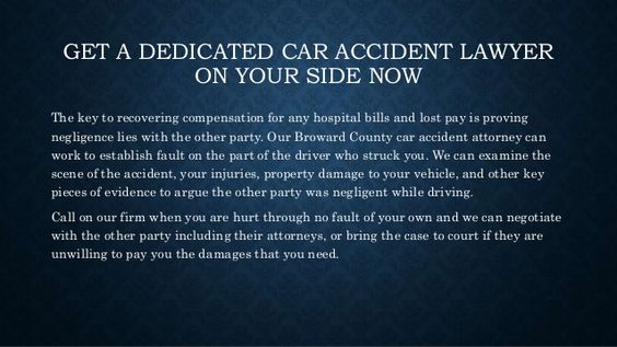 GET A DEDICATED CAR ACCIDENT LAWYER ON YOUR SIDE NOW The key to recovering compensation for any hospital bills and lost pa...