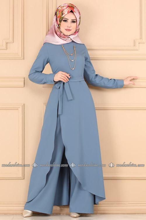 Modaselvim Tulum Yandan Yirtmacli Kolyeli Tulum 2153ms212 Mavi Moda Stilleri The Dress Moda