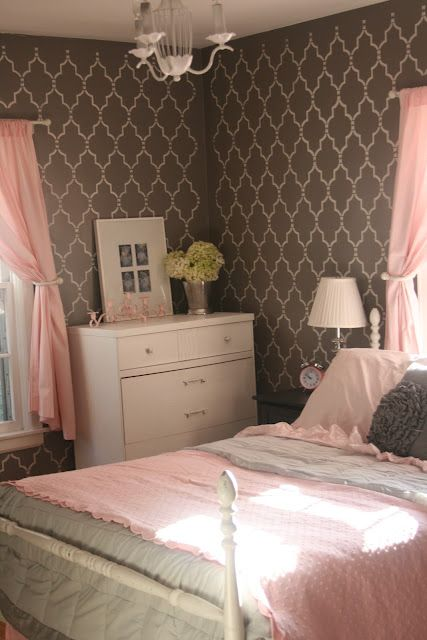 Nana want to stencil your grey wall  HouseTalkN: A Country Living Inspired Bedroom Makeover