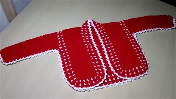 Receita de Crochê Infantil: Casaco de Crochê Infantil - tamanho 6 a 9 meses