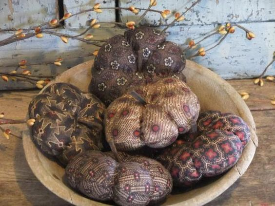 Primitive Pumpkin Bowl Fillers Brown Country Rustic Decor by TreasuredPrimitives on Etsy