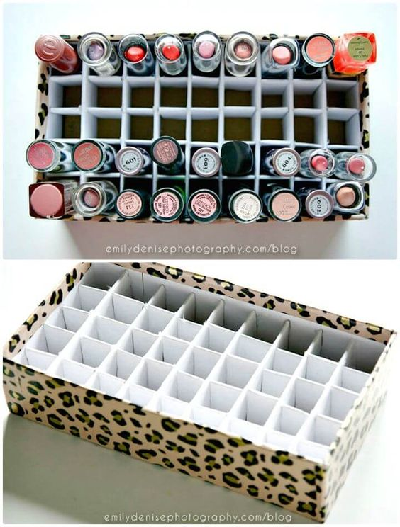 DIY Lipstick Holde - 34 Best DIY Makeup Organizer/Storage Ideas - DIY & Crafts