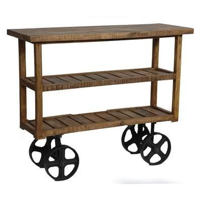 Bengal Manor Mango Wood Industrial Cart CVFNR302