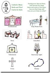 Catholic Mass Cards - Free printables to keep kids quiet, but focused on what's going on, while in Mass!